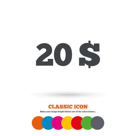 usd: 20 Dollars sign icon. USD currency symbol. Money label. Classic flat icon. Colored circles. Vector Illustration