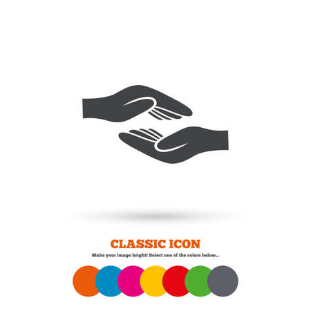 endowment: Helping hands sign icon. Charity or endowment symbol. Human palm. Classic flat icon. Colored circles. Vector
