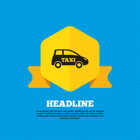 hatchback: Taxi car sign icon. Hatchback symbol. Transport. Yellow label tag. Circles seamless pattern on back. Vector