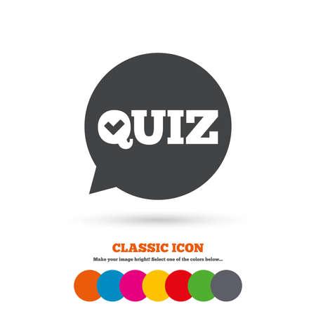 kwis: Quiz inchecken tekstballon teken icoon. Vragen en antwoorden spel symbool. Classic vlakke icoon. Gekleurde cirkels. Vector