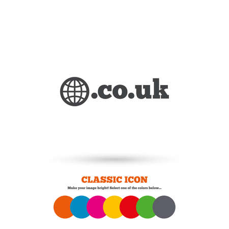 subdomain: Domain CO.UK sign icon. UK internet subdomain symbol with globe. Classic flat icon. Colored circles. Vector Illustration