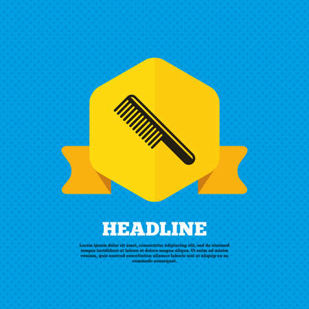 comb hair: Comb hair sign icon. Barber symbol. Yellow label tag. Circles seamless pattern on back. Vector