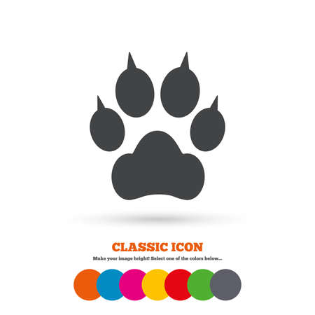 clutches: Dog paw with clutches sign icon. Pets symbol. Classic flat icon. Colored circles. Vector