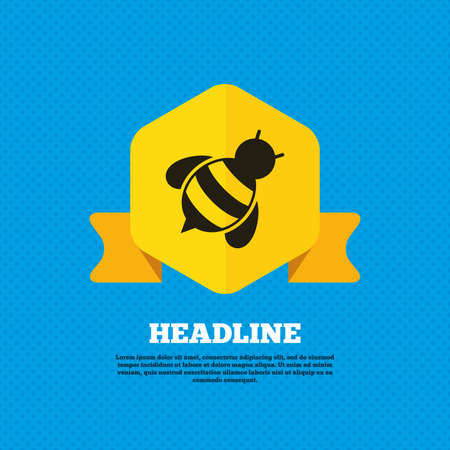apis: Bee sign icon. Honeybee or apis with wings symbol. Flying insect diagonal. Yellow label tag. Circles seamless pattern on back. Vector