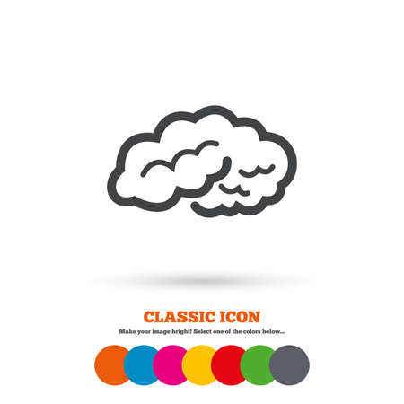 Brain sign icon. Human intelligent smart mind. Classic flat icon. Colored circles. Vector