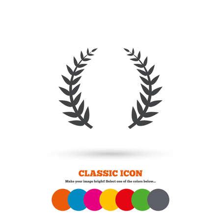 triumph: Laurel Wreath sign icon. Triumph symbol. Classic flat icon. Colored circles. Vector