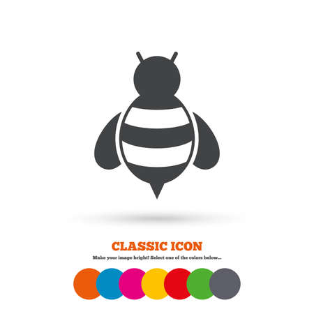 pollination: Bee sign icon. Honeybee or apis with wings symbol. Flying insect. Classic flat icon. Colored circles. Vector Illustration