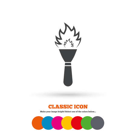 torch flame: Torch flame sign icon. Fire flaming symbol. Classic flat icon. Colored circles. Vector Illustration