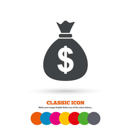 currency symbol: Money bag sign icon. Dollar USD currency symbol. Classic flat icon. Colored circles. Vector