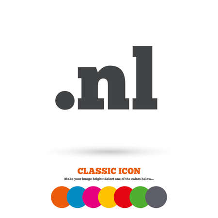 nl: Domain NL sign icon. Top-level internet domain symbol. Classic flat icon. Colored circles. Vector