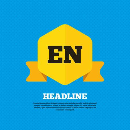 en: English language sign icon. EN translation symbol. Yellow label tag. Circles seamless pattern on back. Vector Illustration