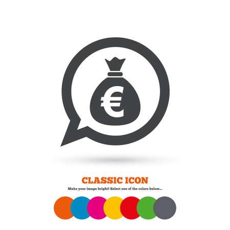 eur: Money bag sign icon. Euro EUR currency speech bubble symbol. Classic flat icon. Colored circles. Vector