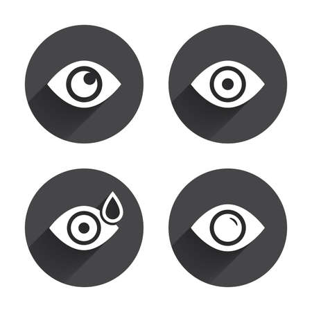 red eye: Eye icons. Water drops in the eye symbols. Red eye effect signs. Circles buttons with long flat shadow. Vector Illustration