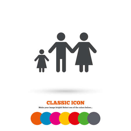 family with one child: Family with one child sign icon. Complete family symbol. Classic flat icon. Colored circles. Vector