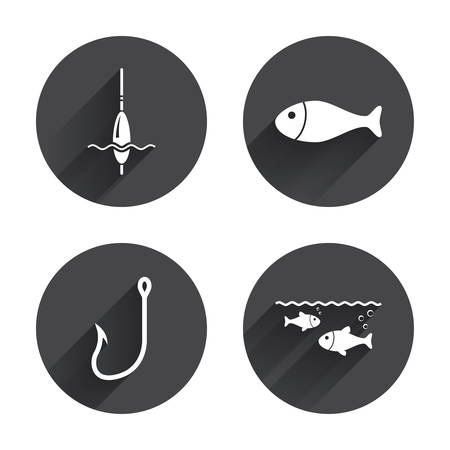 bobber: Fishing icons. Fish with fishermen hook sign. Float bobber symbol. Circles buttons with long flat shadow. Vector