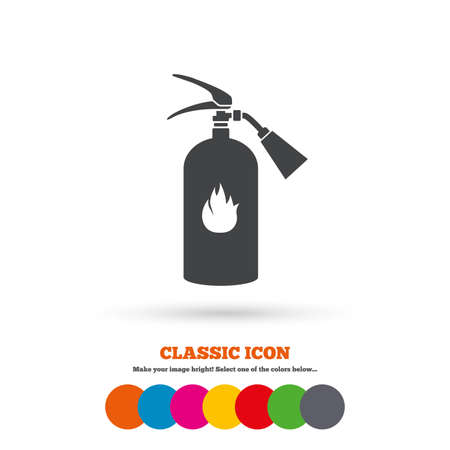 fire extinguisher sign: Fire extinguisher sign icon. Fire safety symbol. Classic flat icon. Colored circles. Vector Vectores