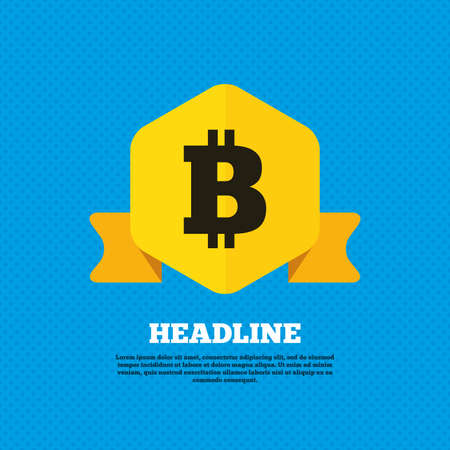 p2p: Bitcoin sign icon. Cryptography currency symbol. P2P. Yellow label tag. Circles seamless pattern on back. Vector