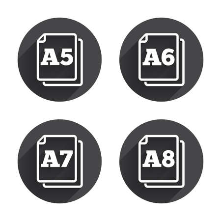 a7: Paper size standard icons. Document symbols. A5, A6, A7 and A8 page signs. Circles buttons with long flat shadow. Vector