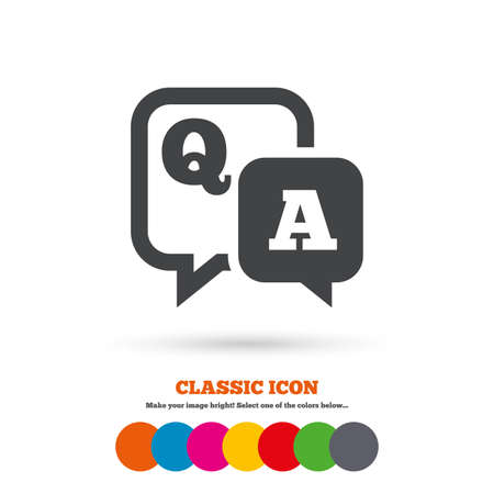answers: Question answer sign icon. Q&A symbol. Classic flat icon. Colored circles. Vector