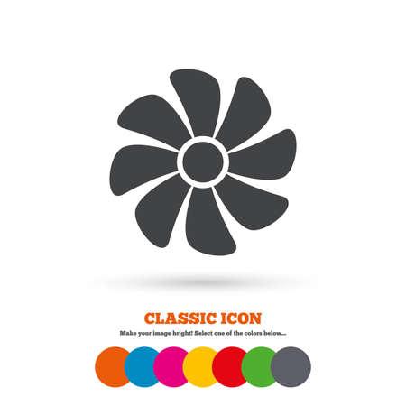 ventilation: Ventilation sign icon. Ventilator symbol. Classic flat icon. Colored circles. Vector Illustration