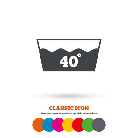 washable: Wash icon. Machine washable at 40 degrees symbol. Classic flat icon. Colored circles. Vector