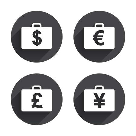 diplomat: Businessman case icons. Cash money diplomat signs. Dollar, euro and pound symbols. Circles buttons with long flat shadow. Vector Illustration