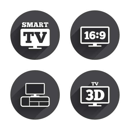 3d mode: Smart TV mode icon. Aspect ratio 16:9 widescreen symbol. 3D Television and TV table signs. Circles buttons with long flat shadow. Vector
