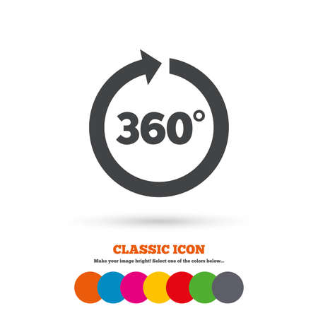 math icon: Angle 360 degrees sign icon. Geometry math symbol. Full rotation. Classic flat icon. Colored circles. Vector Illustration