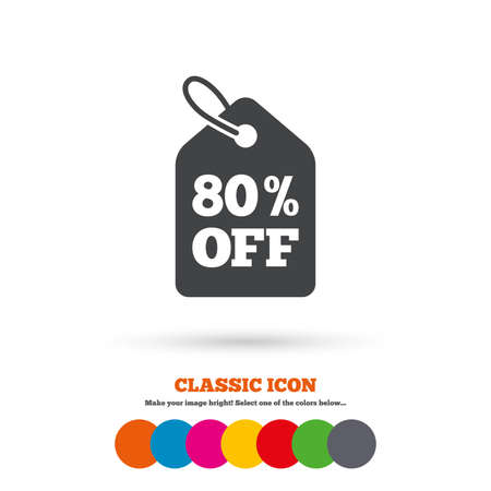price label: 80% sale price tag sign icon. Discount symbol. Special offer label. Classic flat icon. Colored circles. Vector