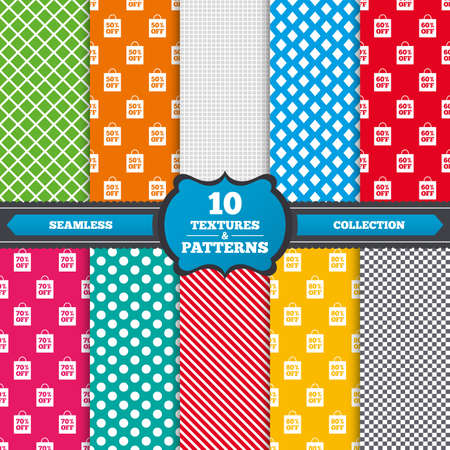 50 to 60: Seamless textures. Sale bag tag icons. Discount special offer symbols. 50%, 60%, 70% and 80% percent off signs. Endless patterns with circles, diagonal lines, chess cell. Vector