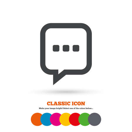 three dots: Chat sign icon. Speech bubble with three dots symbol. Communication chat bubble. Classic flat icon. Colored circles. Vector