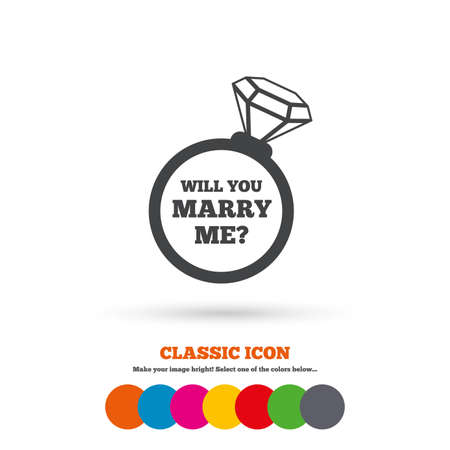 will you marry me: Will you marry me ring sign icon. Engagement symbol. Classic flat icon. Colored circles. Vector