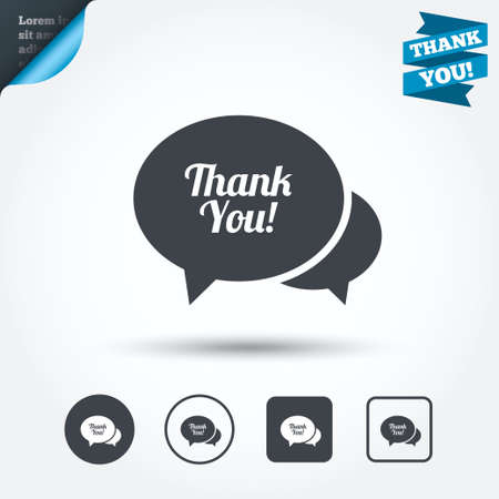 thanks a lot: Speech bubble thank you sign icon. Customer service symbol. Circle and square buttons. Flat design set. Thank you ribbon. Vector