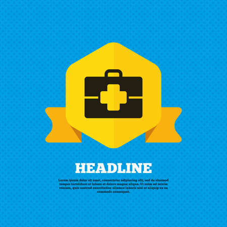 doctor symbol: Medical case sign icon. Doctor symbol. Yellow label tag. Circles seamless pattern on back. Vector