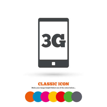 3g: 3G sign icon. Mobile telecommunications technology symbol. Classic flat icon. Colored circles. Vector Illustration