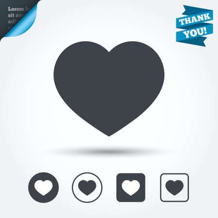 heart attack: Love icon. Heart sign symbol. Circle and square buttons. Flat design set. Thank you ribbon. Vector