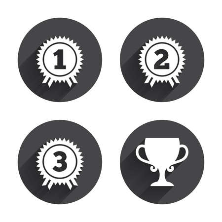 second prize: First, second and third place icons. Award medals sign symbols. Prize cup for winner. Circles buttons with long flat shadow. Vector