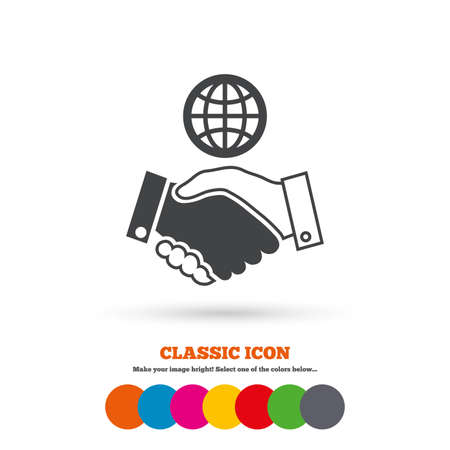 amicable: World handshake sign icon. Amicable agreement. Successful business with globe symbol. Classic flat icon. Colored circles. Vector Illustration