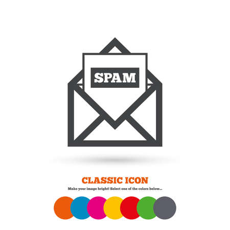Mail icon. Envelope symbol. Message spam sign. Mail navigation button. Classic flat icon. Colored circles. Vector