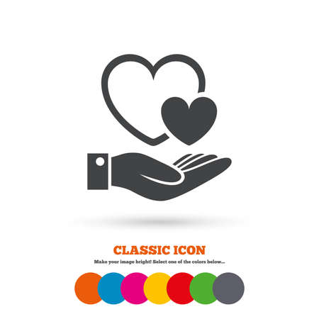 palm of hand: Hearts and hand sign icon. Palm holds love symbol. Classic flat icon. Colored circles. Vector