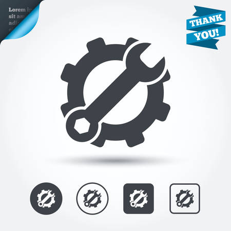 hardware configuration: Service icon. Wrench key with cogwheel gear sign. Circle and square buttons. Flat design set. Thank you ribbon. Vector Illustration