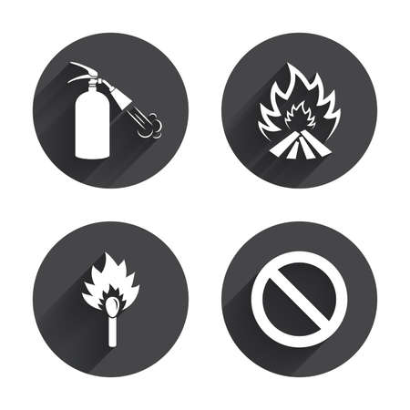 fire extinguisher sign: Fire flame icons. Fire extinguisher sign. Prohibition stop symbol. Burning matchstick. Circles buttons with long flat shadow. Vector Vectores