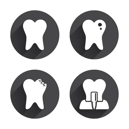 stomatologist: Dental care icons. Caries tooth sign. Tooth endosseous implant symbol. Circles buttons with long flat shadow. Vector