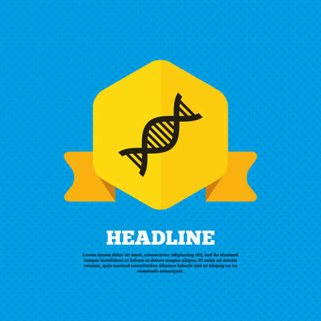 deoxyribonucleic: DNA sign icon. Deoxyribonucleic acid symbol. Yellow label tag. Circles seamless pattern on back. Vector