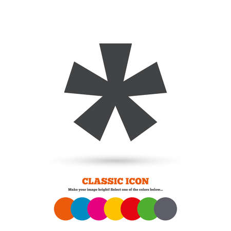 more information: Asterisk footnote sign icon. Star note symbol for more information. Classic flat icon. Colored circles. Vector