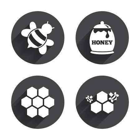 bees: Honey icon. Honeycomb cells with bees symbol. Sweet natural food signs. Circles buttons with long flat shadow. Vector Illustration