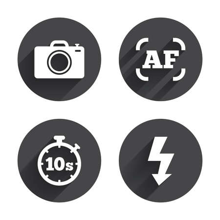 autofocus: Photo camera icon. Flash light and autofocus AF symbols. Stopwatch timer 10 seconds sign. Circles buttons with long flat shadow. Vector