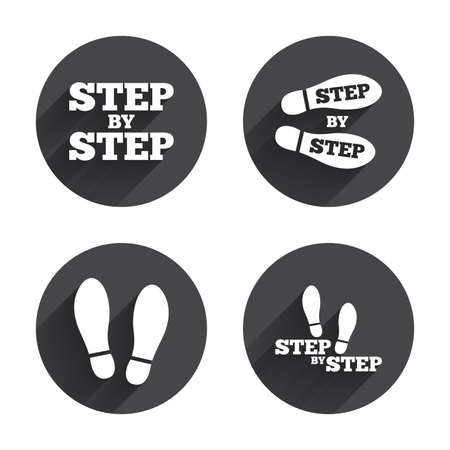 instruction: Step by step icons. Footprint shoes symbols. Instruction guide concept. Circles buttons with long flat shadow. Vector Illustration