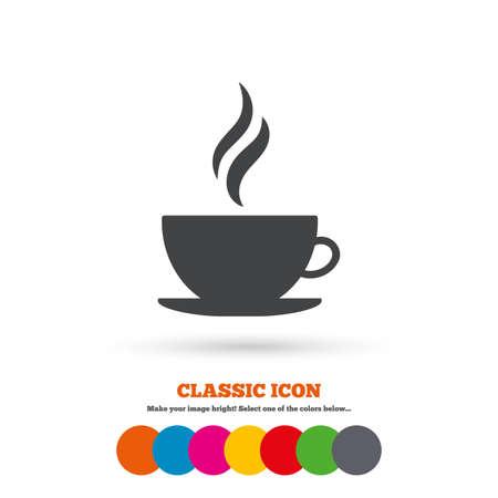 コーヒー カップ記号アイコン。ホット コーヒーのボタン。蒸気で熱いお茶飲む。古典的なフラット アイコン。色のついた丸。ベクトル