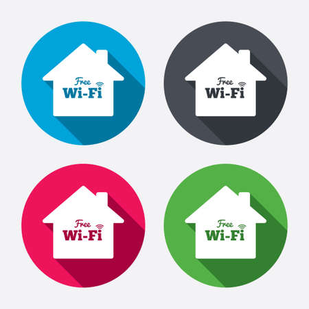 wifi sign: Home wifi sign. Wifi symbol. Wireless Network icon. Wifi zone. Circle buttons with long shadow. Vector Illustration